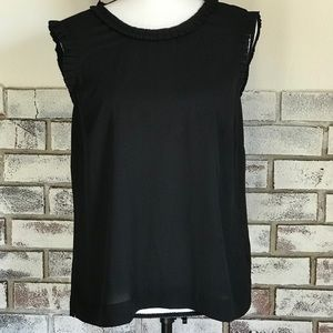 J. Crew Black Blouse w/ Ruffle Neck and Shoulders
